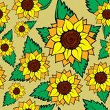 Nahtloser Hintergrund der Sonnenblume Lizenzfreies Stockfoto