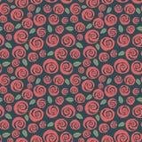 Nahtloser Hintergrund der swirly roten Rosen der Weinlese Lizenzfreie Stockfotografie