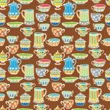 Nahtloser Hintergrund der Teeschale Stockbilder