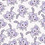 Nahtloser Hintergrund der Tierillustration mit netten purpurroten Katzen besprüht an Hintergrund Stockbild