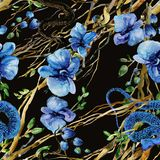 Nahtloser Hintergrund der tropischen Liane Blütendschungelmuster Aquarellschlangenillustration stock abbildung