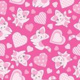 Nahtloser Hintergrund der Valentinsgruß ` s Tagesillustration mit netter rosa Katze und Liebe formen auf rosa Hintergrund Stockfotografie