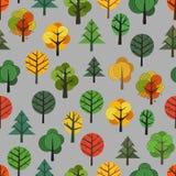 Nahtloser Hintergrund der verschiedenen Bäume Stockbilder