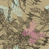 Nahtloser Hintergrund der Weinlese mit Blumen und Schmetterlingen Vektor Stockbilder