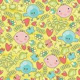 Nahtloser Hintergrund des Babys und der Vögel. Stockbild