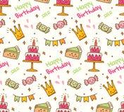 Nahtloser Hintergrund des Geburtstagsgekritzels mit kawaii Geburtstagsmaterial stock abbildung