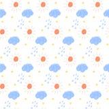 Nahtloser Hintergrund des Gekritzels Abstraktes kindisches Wettergeschehen Stockfoto
