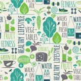 Nahtloser Hintergrund des gesunden Lebensstils Stockbild