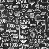 Nahtloser Hintergrund des japanischen Sushilebensmittels Hand gezeichnete Illustration auf dunklem Kreidehintergrund Kann für Men Stockfotografie