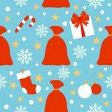 Nahtloser Hintergrund des neuen Jahres, Tasche mit Geschenken Stockfotos