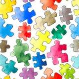 Nahtloser Hintergrund des Puzzlespielmusters Stücke des Puzzlespiels watercolor stockbilder