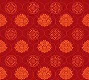 Nahtloser Hintergrund des roten Lotos lizenzfreie abbildung