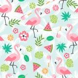 Nahtloser Hintergrund des Sommers mit Flamingo Lizenzfreies Stockbild
