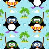 Nahtloser Hintergrund des Sommers mit Pinguin Lizenzfreie Stockbilder