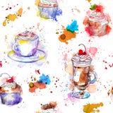 Nahtloser Hintergrund des Teatime Kuchen des kleinen Kuchens, Kaffeetasse Lizenzfreie Abbildung