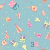 Nahtloser Hintergrund des Vektors für Design des Geburtstages Stockfotos