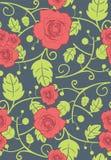 Nahtloser Hintergrund des Vektors mit roten Rosen Stockfoto