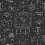 Nahtloser Hintergrund des Vektors mit Theatersymbolen Stockfotografie