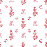 Nahtloser Hintergrund des weißen Vektors mit von Hand gezeichneten Herzen Stockbilder
