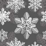 Nahtloser Hintergrund des Winters mit Schneeflocken Winterurlaub- und Weihnachtshintergrund Stockfotos