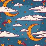 Nahtloser Hintergrund für süße Träume mit Gekritzelmonden und -wolken Lizenzfreie Stockfotografie