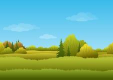 Nahtloser Hintergrund, Herbstlandschaft Lizenzfreies Stockfoto