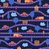 Nahtloser Hintergrund Kind-` s Muster mit Straßen, Autos, Bäumen, Ampeln, Häusern und Wolken Violett, purpurrot, orange, blau Stockbilder