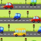 Nahtloser Hintergrund mit Autos, Bus und Ampel Lizenzfreie Stockfotografie