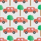 Nahtloser Hintergrund mit Autos und Bäumen Stockfoto