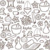 Nahtloser Hintergrund mit ayurvedic Gegenständen der Karikatur stock abbildung