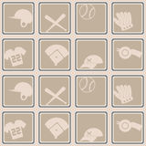 Nahtloser Hintergrund mit Baseballikonen Lizenzfreie Stockbilder