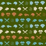 Nahtloser Hintergrund mit Baseballikonen Stockfoto
