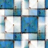 Nahtloser Hintergrund mit blauem Eisenrostquadrat Lizenzfreies Stockfoto