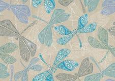 Nahtloser Hintergrund mit blauer Libelle Stockbilder