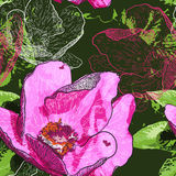 Nahtloser Hintergrund mit Blumen und Schmetterlingen Stockfotos