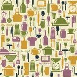 Nahtloser Hintergrund mit bunten Küchenikonen Stockfotografie