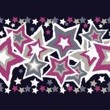 Nahtloser Hintergrund mit dekorativen Sternen Nahtloser Rand Stockbild