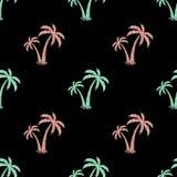 Nahtloser Hintergrund mit dem Bild von Palmen Vektor Einfaches Muster Blaues Meer, Himmel u Lizenzfreies Stockfoto