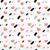 Nahtloser Hintergrund mit den Lippen und Element lizenzfreie abbildung
