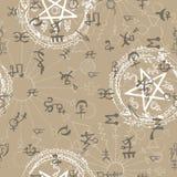 Nahtloser Hintergrund mit den mystischen und geheimnisvollen Symbolen lizenzfreie abbildung