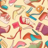 Nahtloser Hintergrund mit den Schuhen der Frauen - 2 Stockfoto
