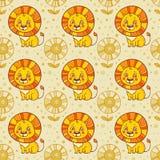 Nahtloser Hintergrund mit einem Löwe und Blumen stock abbildung