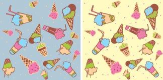 Nahtloser Hintergrund mit Eiscreme Lizenzfreie Stockfotos
