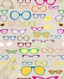 Nahtloser Hintergrund mit Farbenbrillen Stockfotografie