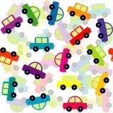 Nahtloser Hintergrund mit farbigen Spielzeugautos vektor abbildung