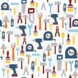 Nahtloser Hintergrund mit flachen Arbeitsgerätikonen Lizenzfreie Stockbilder