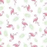 Nahtloser Hintergrund mit Flamingos Muster Flamingo und Palme verzweigen sich auf einen weißen Hintergrund Vektor Lizenzfreies Stockbild