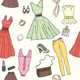 Nahtloser Hintergrund mit Frauen ` s Garderobe Stockbilder