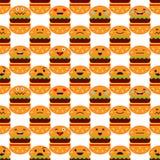 Nahtloser Hintergrund mit Gefühl-Hamburger Nette Karikatur Auch im corel abgehobenen Betrag stock abbildung