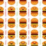 Nahtloser Hintergrund mit Gefühl-Hamburger Nette Karikatur Auch im corel abgehobenen Betrag lizenzfreie abbildung